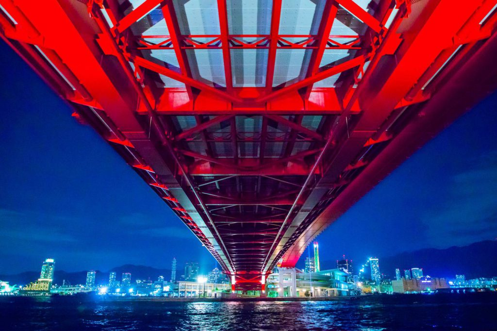 神戸大橋の夜景です。
